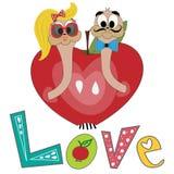 Ilustração do vetor com lagartas e maçã Amor da inscrição Lagarta e maçã dos desenhos animados Lagartas no amor ilustração stock