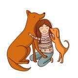 Ilustração do vetor com menina e cães Fotos de Stock