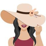 Ilustração do vetor com a mulher bonita com chapéu Foto de Stock Royalty Free