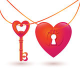 Ilustração do vetor com o buraco da fechadura da chave e do coração Foto de Stock Royalty Free