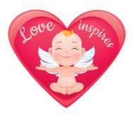 Ilustração do vetor com o cupido feliz do bebê Fotos de Stock Royalty Free