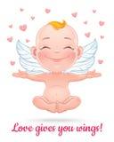 Ilustração do vetor com o cupido feliz do bebê Fotografia de Stock