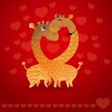 Ilustração do vetor com os dois girafas dos desenhos animados Fotografia de Stock Royalty Free