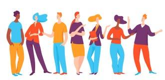 Ilustração do vetor com os povos que tomam a conversação sobre o negócio ilustração stock