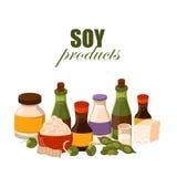 Ilustração do vetor com os produtos da soja dos desenhos animados Fotos de Stock