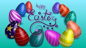 Ilustração do vetor com ovos Inscrição - easter feliz azul ilustração royalty free
