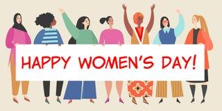 Ilustração do vetor com um grupo de mulheres que guardam uma bandeira grande com felicitações ao dia das mulheres internacionais ilustração do vetor