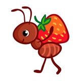Ilustração do vetor com uma formiga que carregue ilustração do vetor