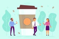 Ilustração do vetor do conceito da ruptura de café no estilo liso ilustração do vetor