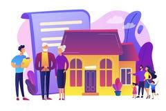 Ilustração do vetor do conceito do planeamento imobiliário da aposentadoria ilustração stock