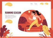 Ilustração do vetor do conceito saudável e desportivo do estilo de vida com a mulher que corre fora no outono ilustração do vetor