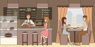 Ilustração do vetor do conceito do tempo do café no estilo liso ilustração royalty free