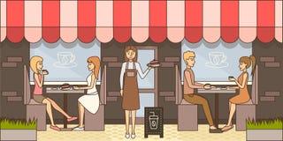 Ilustração do vetor do conceito do tempo do café no estilo liso ilustração stock