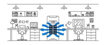 Ilustração do vetor do condicionador de ar do assoalho do escritório Fotografia de Stock