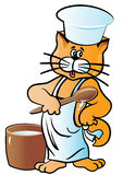 Ilustração do vetor Cozinheiro do gato do caráter no tampão e no avental Isolado no branco Imagem de Stock