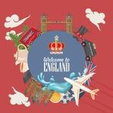 Ilustração do vetor do curso de Inglaterra forma do círculo Férias em Reino Unido Fundo de Grâ Bretanha Viagem ao Reino Unido ilustração stock