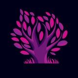 Ilustração do vetor da árvore coa muitos ramos roxa estilizado Ecologia Fotos de Stock