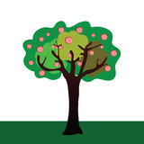 A ilustração do vetor da árvore de maçã Fotos de Stock