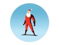 Ilustração do vetor da ação de Santa Claus do super-herói Foto de Stock Royalty Free