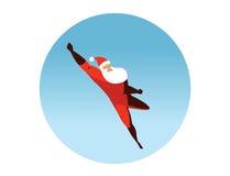 Ilustração do vetor da ação de Santa Claus do super-herói do voo Foto de Stock Royalty Free