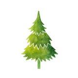 Ilustração do vetor da aquarela da árvore de Natal Fotografia de Stock Royalty Free