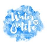 Ilustração do vetor da aquarela do dia da água do mundo Fotos de Stock Royalty Free