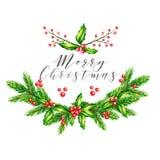 Ilustração do vetor da aquarela Festão do Natal com ramos do abeto, azevinho agradavelmente e as bagas cor-de-rosa do guelder ano Foto de Stock Royalty Free