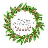 Ilustração do vetor da aquarela Grinalda do Natal com ramos do abeto, azevinho agradavelmente e as bagas cor-de-rosa do guelder a Fotos de Stock Royalty Free
