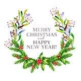 Ilustração do vetor da aquarela Grinalda do Natal com ramos do abeto, azevinho agradavelmente e as bagas cor-de-rosa do guelder a Imagens de Stock