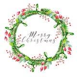 Ilustração do vetor da aquarela Grinalda do Natal com ramos do abeto, cão cor-de-rosa e bagas cor-de-rosa do gelder ano novo feli Imagem de Stock