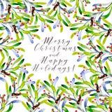 Ilustração do vetor da aquarela Quadro do Natal com galhos e bagas do inverno ano novo feliz 2007 Mão desenhada Natal Foto de Stock Royalty Free