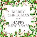 Ilustração do vetor da aquarela Quadro do Natal com visco, azevinho agradavelmente e as bagas cor-de-rosa do guelder ano novo fel Imagem de Stock