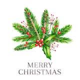 Ilustração do vetor da aquarela Ramalhete do Natal com ramos do abeto, agradavelmente e bagas cor-de-rosa do guelder ano novo fel Imagem de Stock Royalty Free