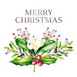 Ilustração do vetor da aquarela Ramalhete do Natal com visco, azevinho agradavelmente e as bagas cor-de-rosa do guelder ano novo  Fotografia de Stock Royalty Free