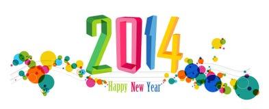 Ilustração 2014 do vetor da bandeira do ano novo feliz Fotografia de Stock