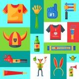 Ilustração do vetor da bandeira do suporte da equipe de futebol Atributo do aficionado desportivo do futebol, acessórios do ho ilustração royalty free