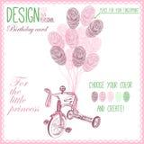 Ilustração do vetor da bicicleta do bebê para a menina Imagem de Stock Royalty Free