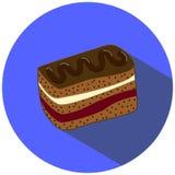 Ilustração do vetor da brownie no estilo liso, imagem cremosa da parte do bolo Fotos de Stock