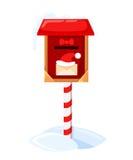 Ilustração do vetor da caixa postal de Santa s de uma letra por Santa Claus Merry Christmas e o ano novo feliz Neve da lista de o Imagem de Stock Royalty Free
