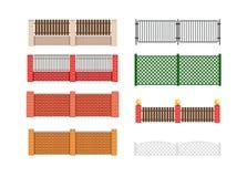 Ilustração do vetor da cerca Cerca do tijolo e cerca da madeira Aro da cerca Fotografia de Stock Royalty Free