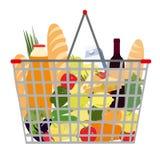 Ilustração do vetor da cesta completa do alimento Fotos de Stock Royalty Free
