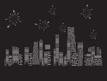Ilustração do vetor da cidade dos fogos-de-artifício Fotografia de Stock Royalty Free