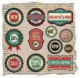 Coleção de etiquetas retros da venda do grunge do vintage, vagabundos ilustração stock