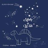 Ilustração do vetor da constelação mágica do dinossauro, arte poligonal, projeto geométrico com a mão tirada com as estrelas de u ilustração stock
