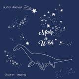 Ilustração do vetor da constelação mágica do dinossauro, arte poligonal, projeto geométrico com a mão tirada com as estrelas de u ilustração royalty free