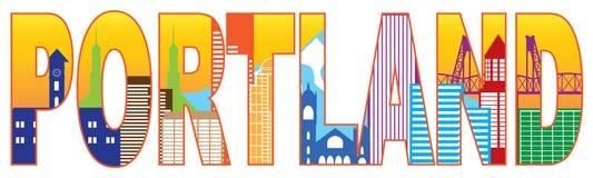 Ilustração do vetor da cor do esboço do texto da skyline de Portland Oregon Foto de Stock