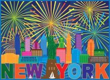 Ilustração do vetor da cor dos fogos-de-artifício da skyline de New York ilustração royalty free