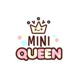 A ilustração do vetor da coroa e a mini rainha text com o emoji à moda do kawaii Emoticons do presente das meninas do estilo do v Fotos de Stock