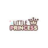 A ilustração do vetor da coroa e a princesa pequena text com o emoji à moda do kawaii Emoticons do presente das meninas do estilo Foto de Stock Royalty Free