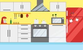 Ilustração do vetor da cozinha Projeto liso ilustração do vetor